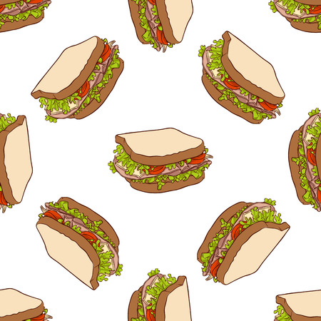 bread roll: Seamless pattern color sandwich.