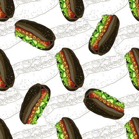 scetch: Seamless pattern hot dog scetch and color.