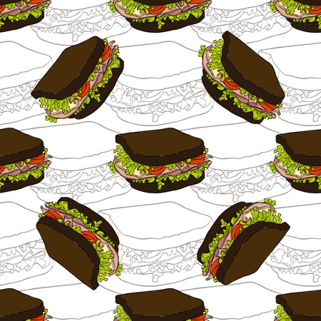 bread roll: Seamless pattern sandwich scetch and color.