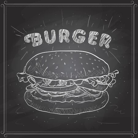 scetch: Hamburger hand drawn vector llustration realistic sketch. Burger,  scetch on a black board