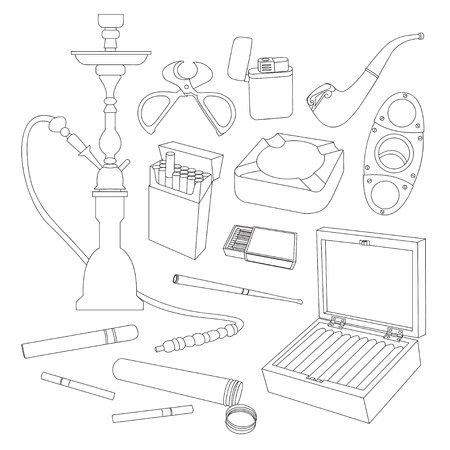 ceremonial: Tobacco And Smoking Sketch Set. Hand Drawn Cigarettes, Cigars, Hookah, Matches, Tobacco Leaves, Ceremonial Pipe And Smoking Accessories