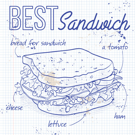 notebook page: Sandwich recipe on a notebook page. Illustration