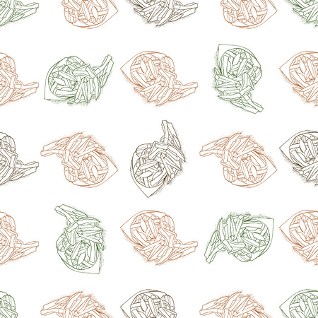 scetch: Seamless pattern color french fries scetch. Vector illustration, EPS 10