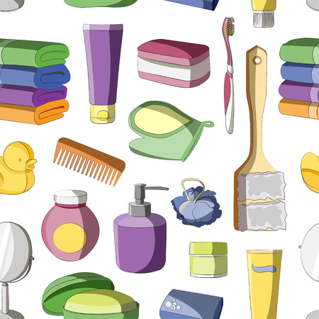 amenities: Bath Accessories pattern and Products for Beauty in free-hand style Illustration