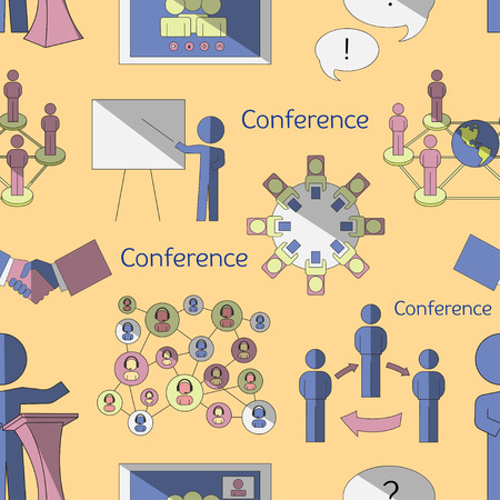 workgroup: Conference icons pattern with business people workgroup communication isolated vector illustration Illustration