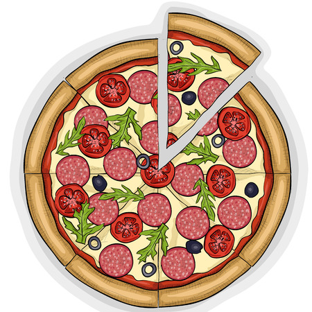 Pizza with salami color picture sticker. Vectores