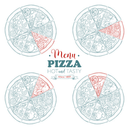 cafeteria: Sketch pizza menu, Food Cafeteria. Illustration