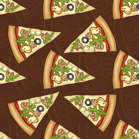 regina: Seamless pattern sketch and color pizza with mushrooms on dark background.
