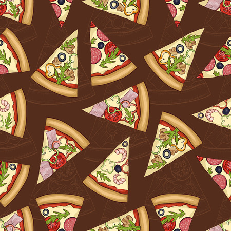 regina: Seamless sketch and color pattern with four types of pizza on dark background.