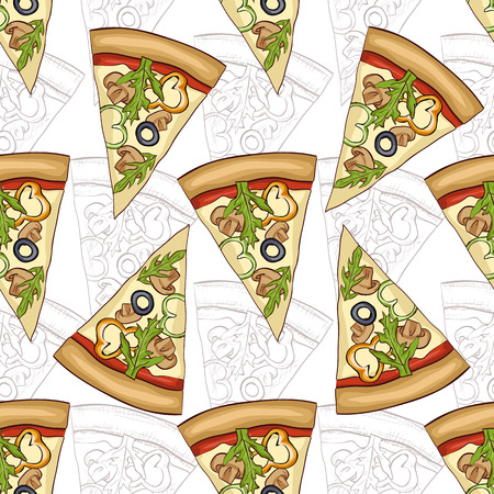 regina: Seamless pattern sketch and color pizza with mushrooms.