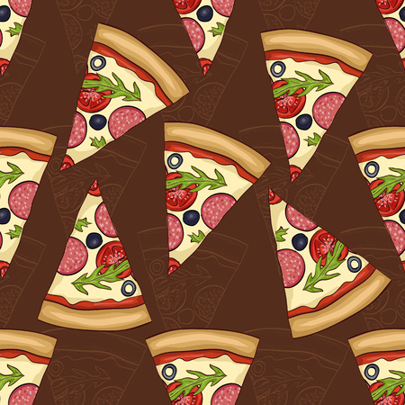 regina: Seamless pattern two types of pizza salami.