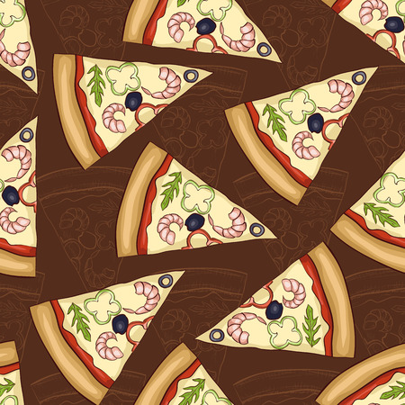 regina: Seamless pattern two types of pizza shrimp. Illustration