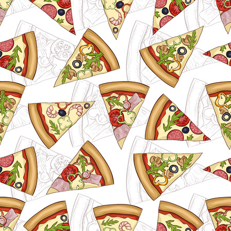 regina: Seamless pattern sketch with four types of pizza.