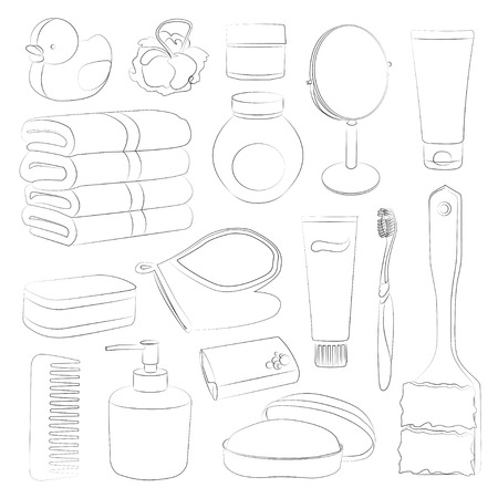 amenities: Set of Bath Accessories and Products for Beauty in free-hand style Illustration