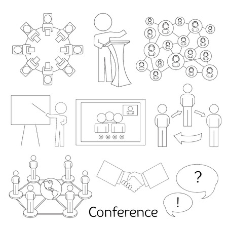 workgroup: Conference icons set with business people workgroup communication isolated vector illustration