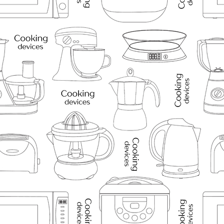 food processor: Cooking devices pattern - food processor, microwave, electric kettle, toaster oven, mixer, kitchen, coffee machine, espresso machine, coffeemaker, blender, jug, water Illustration