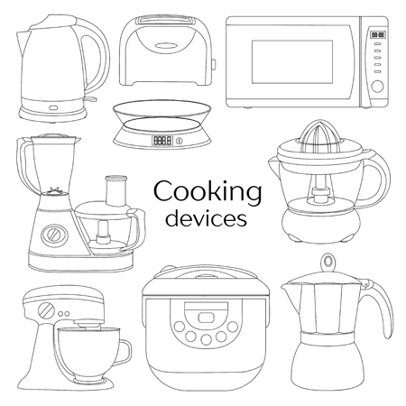food processor: Cooking devices, icons set - food processor, microwave, electric kettle, toaster oven, mixer, kitchen, coffee machine, espresso machine, coffeemaker, blender, jug, water Illustration