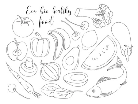 Various of hand drawn Eco bio healthy food . Isolated vector illustration. Çizim