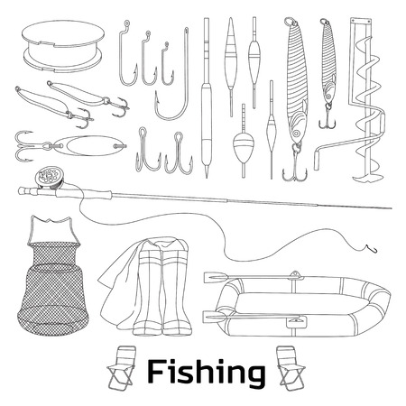 fisher man: Fishing set icons- fishing rod, hooks, bait, boat, fish, anchor, water, beard, chain, compass and other. Vector illustrations Illustration