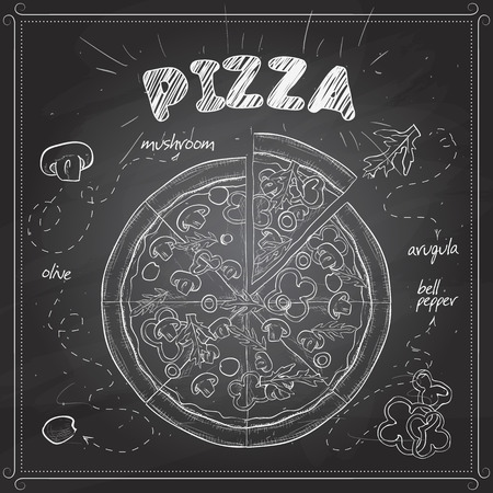 peeling paint: Pizza with mushrooms color picture on a black board. Fast food. Hand drawn vector illustration.