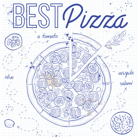 salami: Pizza with salami on a notebook page. Fast food. Hand drawn vector illustration.