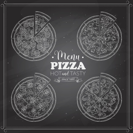 regina: Scetch of 4 types pizza on a black board. Vector illustration Illustration