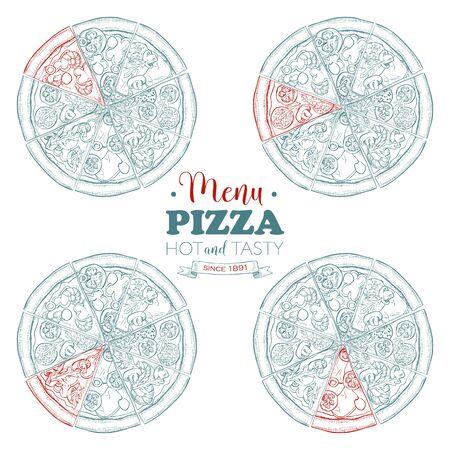 scetch: Scetch pizza menu, Food Cafeteria. Vector illustration Illustration