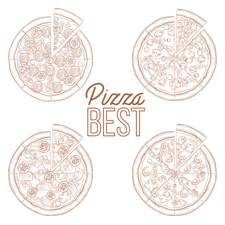 regina: Scetch set of four types pizza. Vector illustration Illustration