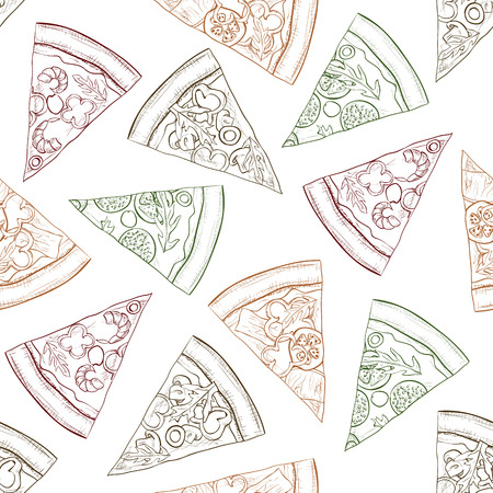 scetch: Seamless pattern scetch with four types of pizza. Vector illustration