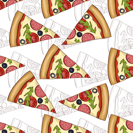 scetch: Seamless pattern pizza salami scetch and color. Vector illustration