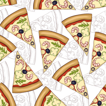 scetch: Seamless pattern pizza shrimp scetch and color. Vector illustration