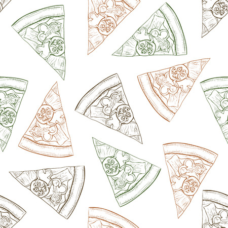 scetch: Seamless pattern pizza with bacon scetch. Vector illustration Illustration