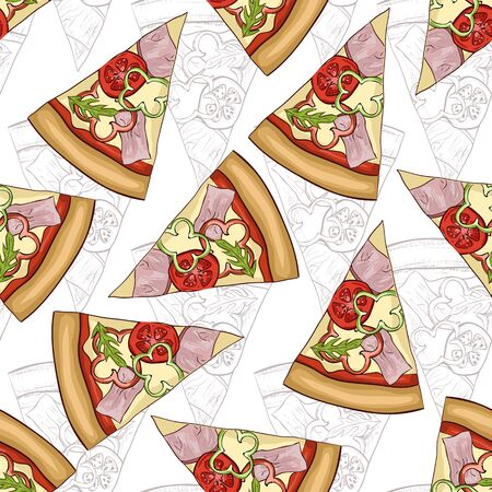 scetch: Seamless pattern scetch and color pizza with bacon. Vector illustration