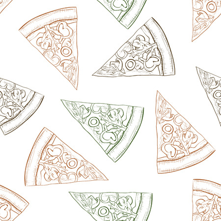 scetch: Seamless pattern pizza with mashroom scetch. Vector illustration