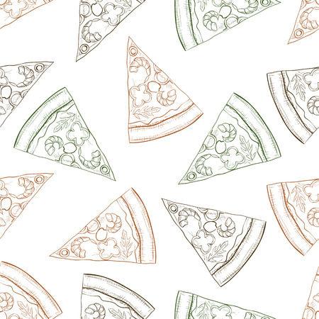 scetch: Seamless pattern pizza with shrimp scetch. Vector illustration Illustration