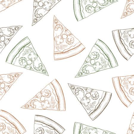 regina: Seamless pattern pizza with shrimp scetch. Vector illustration Illustration