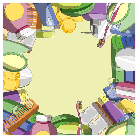 Set of colorful Bath Accessories. Vector illustration