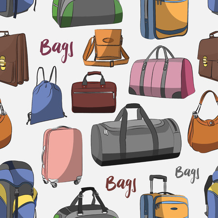 cases: Different bags set pattern - bags, cases, suitcases, backpacks, kids backpack, box, Lady bag, carry-on luggage, purse and other. Vector illustration Illustration