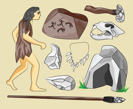 edad de piedra: Prehist�ricos iconos de la edad de piedra ubicados presentando la vida de hombres de las cavernas y sus herramientas primitivas ilustraci�n vectorial aislado plana Vectores