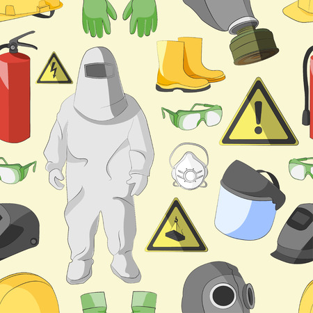 protective clothing: Set of tools, signs and protective clothing and equipment for safe work pattern Illustration