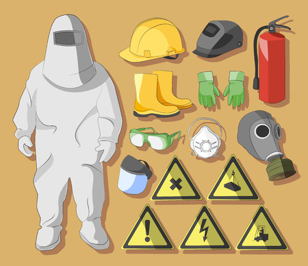 warning vest: Set of tools, signs and protective clothing and equipment for safe work.