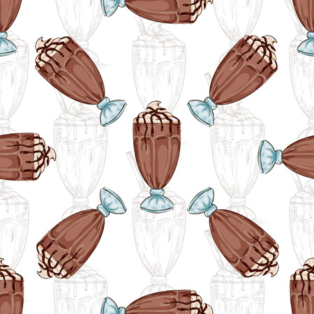 eatery: Seamless pattern color chocolate milkshake scetch. Sketched fast food vector illustration. Background with drink for cafe, restaurant, eatery, diner, website or take away bag design