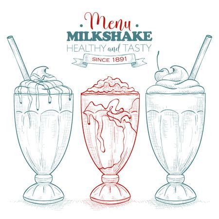 アートコレクティブ ミルクセーキ メニュー。ミルクセーキはスケッチ セットです。ファーストフードのレストラン、フード メニュー。手描きのデザート。ベクトルの図。