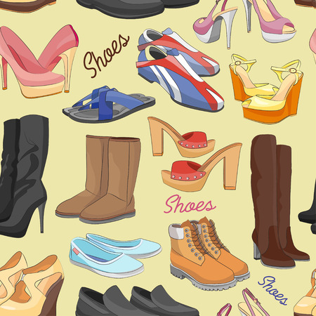 Shoes color pattern of different shoes for man and woman. Vector illustration, EPS 10