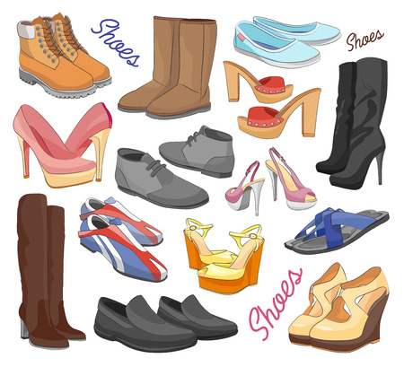 plimsolls: Set of different shoes for man and woman. Vector illustration, EPS 10 Illustration