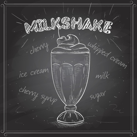 milk shake: Milk shake sketch style vector illustration on a black board