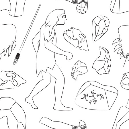 prehistoric age: Prehistoric stone age icons set pattern presenting life of cavemen and their primitive tools flat isolated vector illustration Illustration
