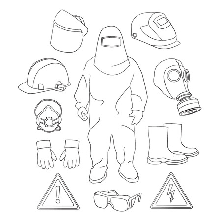 protective clothing: Set of tools, signs and protective clothing and equipment for safe work.