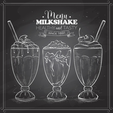 Scetch of milkshake menu on a black board. Milkshakes sketch set. Fast food restaurant, food menu. Hand drawn dessert. Vector illustration.  イラスト・ベクター素材