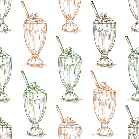 eatery: Seamless pattern chocolate milkshake scetch. Sketched fast food vector illustration. Background with drink for cafe, restaurant, eatery, diner, website or take away bag design